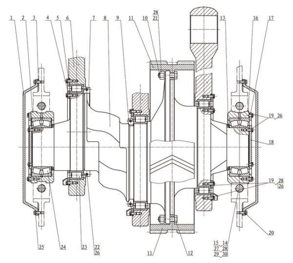 Кривошипно-шатунный механизм в сборе насоса серии F-1000